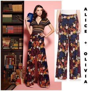 "Alice + Olivia Pants & Jumpsuits - Alice + Olivia ""Athena"" floral embroidered pants 0"